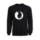 Popular Monochrome Cat Tai Chi Pattern Long Sleeves Pullover Sweatshirt