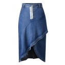 Elegant Zipper Fly Asymmetrical Hem Midi Denim Skirt