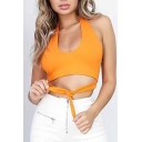 Sexy Halter Tie Front Plain Sleeveless Cropped Tank