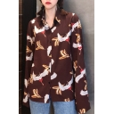 Unique Allover Crane Pattern Point Collar Long Sleeves Button Down Shirt