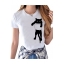 Cat Printed Round Neck Short Sleeve Modal Tee