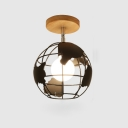 Industrial 8''W Flushmount Ceiling Light with Globe Metal Cage in White/Black Finish