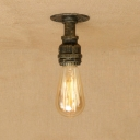 Industrial Simple Flushmount Ceiling Light in Pipe Style, Bronze/Silver