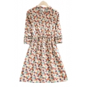 Lovely Floral Printed Round Neck Button Front Drawstring Waist Midi Dress