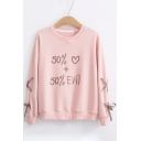 Pop Number Heart Letter Print Round Neck Tie Side Dropped Shoulder Pullover Sweatshirt