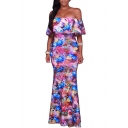 Retro Floral Print Off Shoulder Short Sleeve Maxi Dress