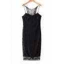 Sexy Spaghetti Straps Floral Lace Panel Slim-Fit Bodycon Mini Pencil Cami Dress