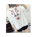 Casual Floral Embroidered High Neck Long Sleeves Linen Loose Peasant Blouse with Buttons