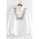 Stylish Embroidery Leaf Pattern Long Sleeve Button Down Lapel Shirt