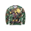 Fashionable Cartoon Character Camouflaged Pattern Round Neck Long Sleeves Pullover Sweatshirt
