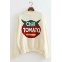Fashionable Letter Print Long Sleeve Mock Neck Pullover Sweater