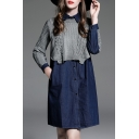 Chic Patchwork Color Block Lapel Long Sleeves Button Down Mini Shift Denim Shirt Dress