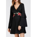 Fashionable V-Neck Flared Cuff Floral Pattern Dress