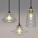 Industrial 21''W Multi Light Pendant with Clear Glass Shade, 3 Light