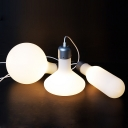 Industrial 20''W Multi Light Pendant with Glass Shade in White Finish, 3 Light