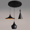 Industrial 3 Light Multi Light Pendant with Metal Shade in Black Finish