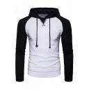 Simple Color Block Sportive Drawstring Pullover Slim-Fit Men's Hoodie