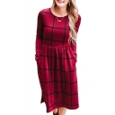 New Trendy Plaid Print Long Sleeve Round Neck Midi Dress