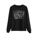 Stylish Cactus Printed Round Neck Long Sleeves Pullover Sweatshirt