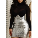 Women's Fashion Sexy Sequined Plain Slim-Fit Bodycon Mini Zip-Back Dress