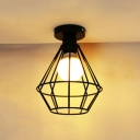Industrial Simple 7.9''W Flushmount Ceiling Light with Metal Cage in Black Finish