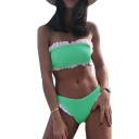 Hot Fashion Contrast Trimmed Ruffle Detail Ribbed Bikini