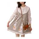 Color Block Cartoon Rabbit Carrot Print Ruffle Long Sleeve Dress