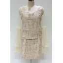 Elegant Tweed Plaids Pattern V-Neck Mesh Patchwork Blouson Sleeves Ruffle Skirt Co-ords