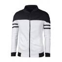 Trendy Color Block Striped Pattern Long Sleeves Zippered Jacket with Pockets
