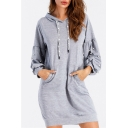 Chic Plain Beaded Puff Sleeve Drawstring Hood Dress with Pocket