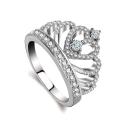 Ladylike Crown Shaped Jewel Studded Slim Band Fancy Ring