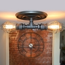 Industrial 2 Light Semi-Flush Ceiling Light with Metal Cage Shade in Pipe Style, 21''W