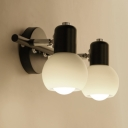Industrial 2 Light Multi Light Wall Sconce with White Glass Shade