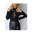 Chic Simple Plain Long Sleeve Cold Shoulder Lace-Up Front Bodysuit