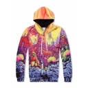 Colorful Strange World Cartoon Pattern Long Sleeves Pullover Hoodie with Pocket