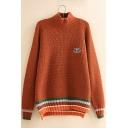 Color Block Turtleneck Long Sleeve Split Side Loose Pullover Sweater