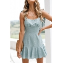 Summer Collection Spaghetti Straps Bow Peplum Hem Gathered Waist Cami Flared Mini Dress