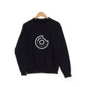 Funny Circle Print Long Sleeve Round Neck Pullover Sweatshirt for Couple