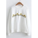 Winter Fashion Sunflower Printed Round Neck Long Sleeves Pullover Sweatshirt