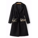 Elegant Faux Fur Embellished Single-Button Pockets Notched Lapel Drawstring Waist Longline Coat