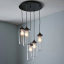 Industrial Multi Light Pendant with Clear Glass Bottle Shade, 5 Light