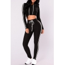Sexy Long Sleeves Striped Pattern Cropped Hoodie with Drawstring Waist Slim-Fit Pants