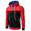 Trendy Color Block Zipper Front Long Sleeves Pullover Hoodie with Zipped-Pockets
