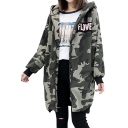 Chic Letter Camouflage Print Long Sleeve Zipper Tunic Hooded Coat