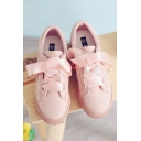 Girlish Ribbon Lace-up Fastening Bow Detail Women's Sneakers