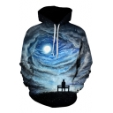 Fashion Sky Cloud Print Long Sleeve Drawstring Hood Leisure Hoodie for Couple