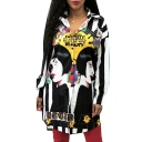 Fashionable Portrait Letter Striped Printed Long Sleeves Button Down Tunic Shirt