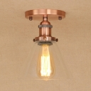 Industrial Vintage 7.5''W Flush Mount Ceiling Fixture with Cone Glass Shade
