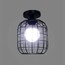 Industrial 6.3''W Flush Mount Ceiling Fixture with Metal Cage in Black Finish