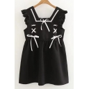 Fashionable Plain Bow Front Ruffle Tie Square Neck Tank Dress